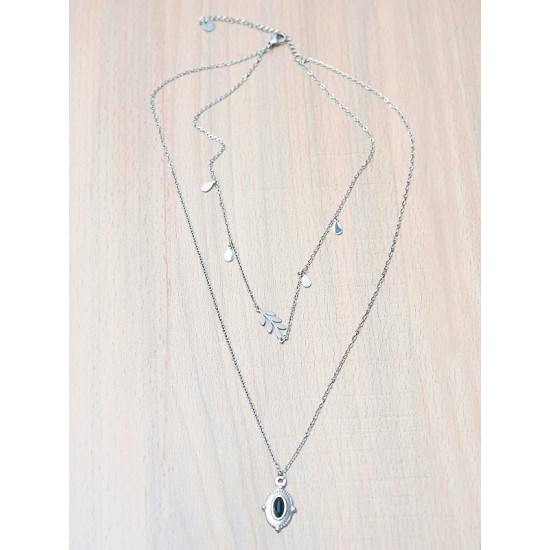 2-ROW NECKLACE WITH PENDANT