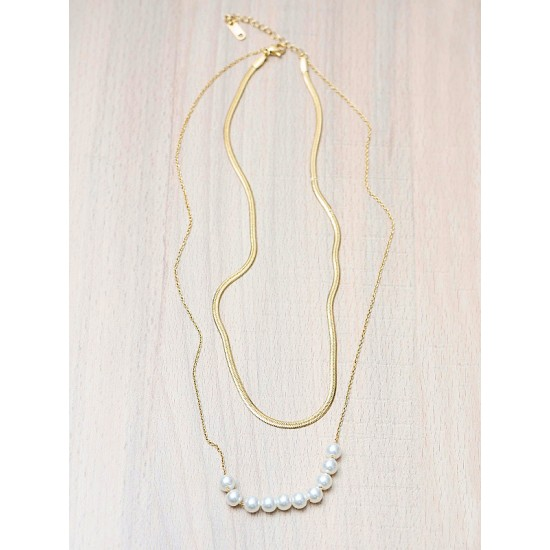 2-ROW NECKLACE WITH PEARLS