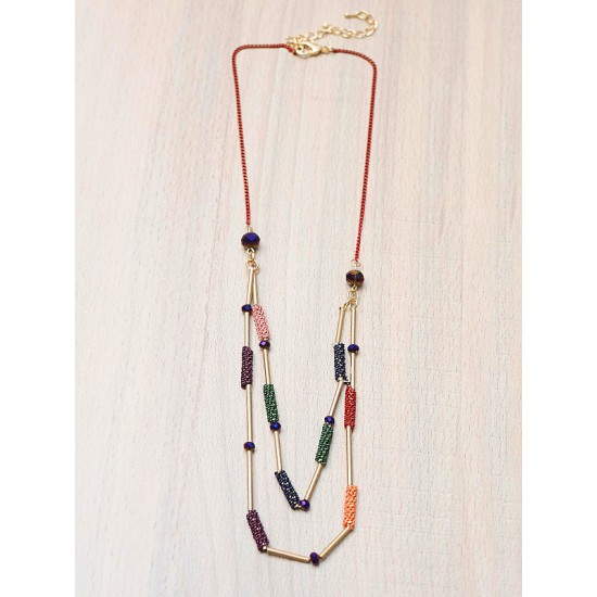 NECKLACE WITH MULTICOLOUR BEADS
