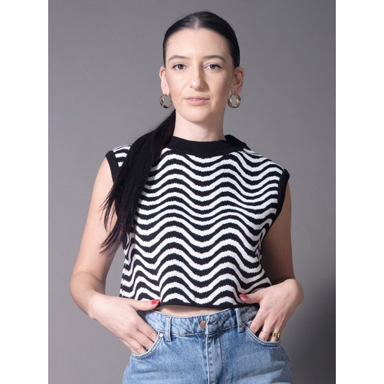 CROPPED KNITTED BLOUSE