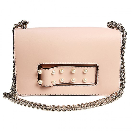 LEATHER PURSE WITH PEARLS