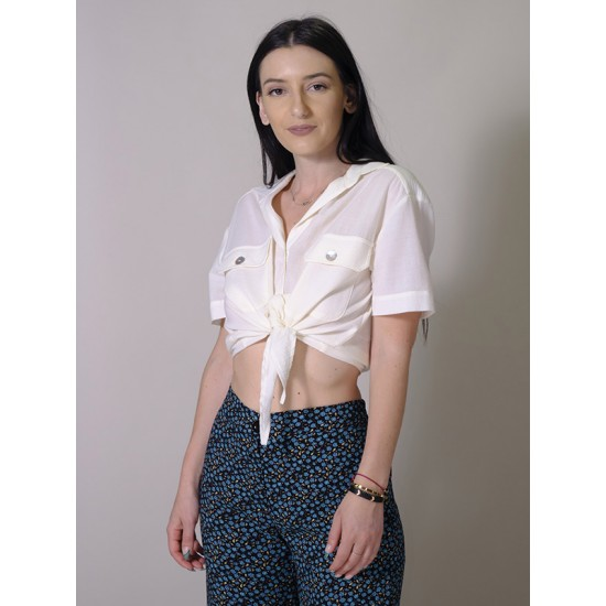 CROPPED SHIRT WITH TIE