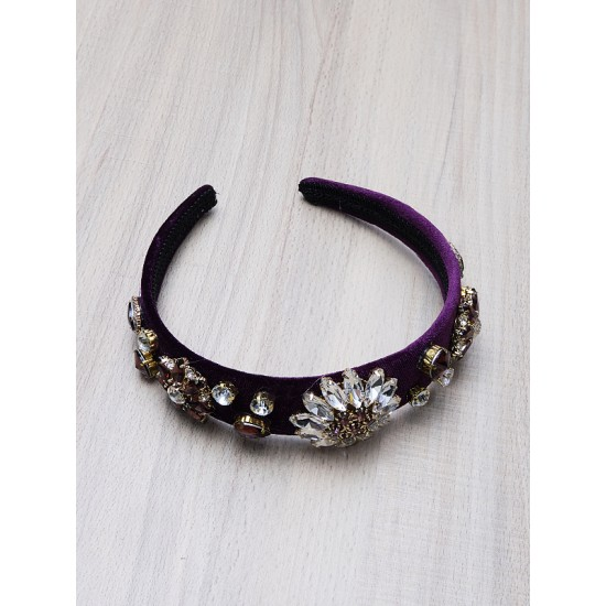 VELVET HEAD BAND WITH CRYSTALS